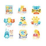 Pet shop original label design, colorful hand drawn vector Illustrations Stock Images