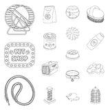 Pet shop outline icons in set collection for design.The goods for animals vector symbol stock web illustration. Pet shop outline icons in set collection for Stock Photo