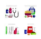 Pet shop. Pets accessories and vet store Stock Images