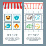 Pet shop, pets care, veterinary concept. Vector banner, poster or flyer template. Royalty Free Stock Images