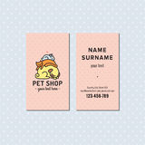 Pet shop pink vector business card. Cute multicolored logo with sleeping dog, cat and bunny. Stock Photo