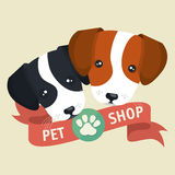 pet shop poster faces puppy design Royalty Free Stock Photo