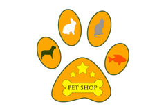 Pet Shop. Poster Illustration with a  Dog, Rabbit, Cat and Fish Royalty Free Stock Photo