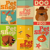 Pet Shop. Posters Set in Retro Style. Illustration Stock Photo