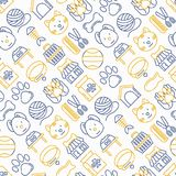 Pet shop seamless pattern. With thin line icons: cat, dog, collar, kennel, grooming, food, toys. Modern vector illustration Stock Photography
