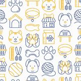 Pet shop seamless pattern with thin line icon. S: cat, dog, collar, kennel, grooming, food, toys. Modern vector illustration Royalty Free Stock Photo
