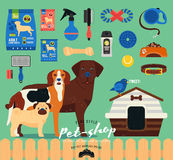 Pet shop set. Grooming icons set. Flat Royalty Free Stock Image