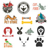 Pet shop. Set of pet shop labels and badges. Cat food. Dog food. Pet store. Logo design template. Pet grooming Royalty Free Stock Image