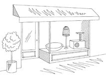 Pet shop store exterior graphic black white sketch illustration vector Royalty Free Stock Photo
