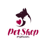 Pet shop or vet clinic logo. Animals, cat, dog icon or label. Lettering vector illustration Royalty Free Stock Photography