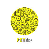 Pet shop and vet clinic vector logo with line icons of cats, dogs, goods for animals Royalty Free Stock Photography