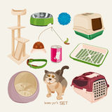 Pet shop. Vet set with cat Royalty Free Stock Photography
