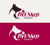 Pet shop or veterinary clinic logo. Animals, dog, cat icon. Lettering vector illustration. On white background Stock Photos