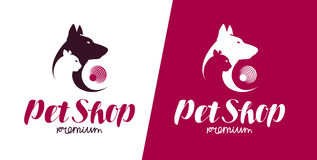 Pet shop or veterinary clinic logo. Animals, dog, cat label. Vector illustration. Pet shop or veterinary clinic logo. Animals, dog, cat icon. Vector Royalty Free Stock Photography