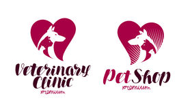 Pet shop, veterinary clinic logo. Animals, dog, cat, parrot icon or symbol. Label vector illustration. Isolated on white background Stock Photography