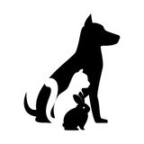pet shop veterinary sign silhouette dog cat bunny Royalty Free Stock Photo