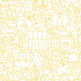 Pet Shop White Line Seamless Pattern. Vector Illustration of Outline Tileable Background Stock Photo