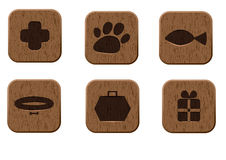 Pet shop wooden icons set Stock Images