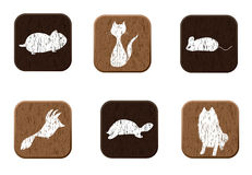 Pet shop wooden icons set with pets silhouettes. Royalty Free Stock Image