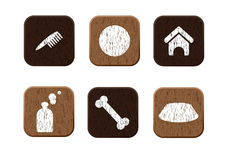 Pet shop wooden icons set vector vector illustration