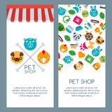 Pet shop, zoo or veterinary banner, poster or flyer template. Vector flat pets icons. Stock Images