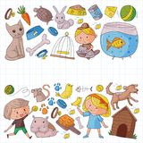 Pet shop, zoo, veterinary. Kindergarten small children. Kids plays with animals. Vector pattern woth cat, hamster, dog. Bunny rabbit Stock Photography