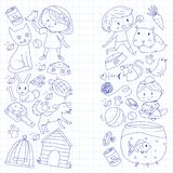 Pet shop, zoo, veterinary. Kindergarten small children. Kids plays with animals. Vector pattern woth cat, hamster, dog Royalty Free Stock Image