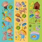 Pet shop, zoo, veterinary. Kindergarten small children. Kids plays with animals. Vector pattern woth cat, hamster, dog Royalty Free Stock Images