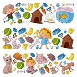 Pet shop, zoo, veterinary. Kindergarten small children. Kids plays with animals. Vector pattern woth cat, hamster, dog. Bunny rabbit Stock Images