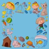 Pet shop, zoo, veterinary. Kindergarten small children. Kids plays with animals. Vector pattern woth cat, hamster, dog. Bunny rabbit Royalty Free Stock Photos