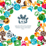 Pet shop, zoo or veterinary square banner, poster or flyer design template. Stock Image