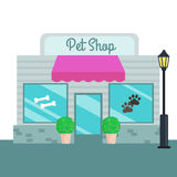 Pet Shops and stores front flat style. Vector illustration Stock Photography