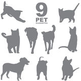 9 pet silhouettes set. 9 grey pet silhouettes royalty free illustration