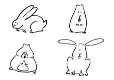 Pet simple clipart. Hand drawning funny rabbit hamster vector Stock Photos