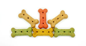 Pet Snacks for Dogs. An overhead view of colorful dog bone snacks Royalty Free Stock Photography