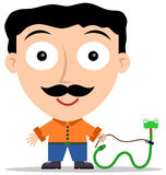 Pet snake. Illustration of a man with a pet snake on leash Stock Images