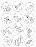 Pet stickers black and white Royalty Free Stock Photo