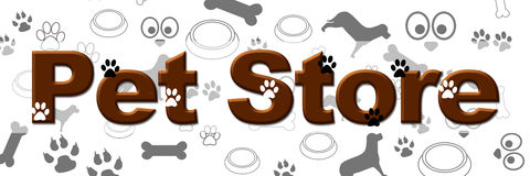 Pet Store Banner. Pet store text over a pet related symbols texture vector illustration