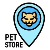 Pet store cat logo, outline style