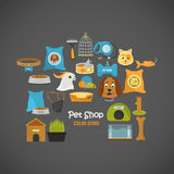 Pet store color icons set for web and mobile design Royalty Free Stock Photography