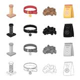 Pet store, products, merchandise and other web icon in cartoon style.Coil, thread, collar icons in set collection. Pet store, products, merchandise and other Stock Image