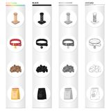 Pet store, products, merchandise and other web icon in cartoon style.Coil, thread, collar icons in set collection. Royalty Free Stock Photos