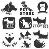 Pet store. Set of pet shop labels and badges. Cat food. Dog food. Pet store. Logo design template. Pet grooming Stock Photos