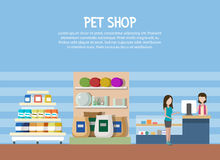 Pet store or shop interior with woman shopping. Aquarium and cat or dog rug at pet store, domestic animal food and pet accessories or supplies. May be used for Stock Image