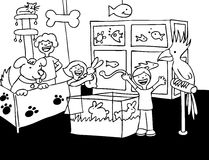 Pet Store Visit - black and white. Children look at animals in a pet store - black and white Royalty Free Stock Photos