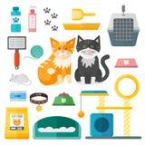 Pet supplies cat accessories animal equipment care grooming tools vector set. Cat accessories and food, domestic feline cat accessories. Cartoon animal kitten vector illustration