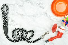 Pet supplies concept.  Pet leashes, rubber toy and bowl on marble background stock photo
