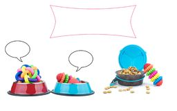 Pet supplies with copy space for text advertising. Object on white background stock photography