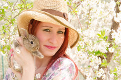 Pet therapy with rabbit Royalty Free Stock Photos
