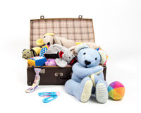 Pet toys. Favorite toys in an old suitcase Royalty Free Stock Photo